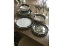 next deco style dinner set plus matching glasses