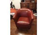 Ox blood red Leather Tub Chair