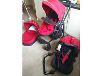 Graco Evo pram / pushchair / travel system chilli red