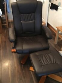 Reclining leather effect Chair & Stool