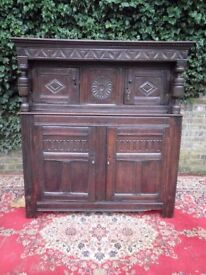 ORIGINAL RARE CHARLES 11 ENGLISH 17TH CENTURY CARVED OAK COURT CUPBOARD WITH KEYS Circa 1670