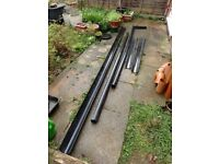 Unused guttering and drain pipes including braces, brackets and corner pieces