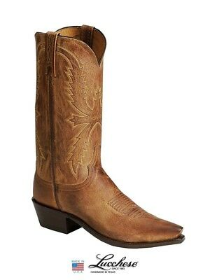 Lucchese Mens Boots 8.5 EE Tan Burnished Mad Dog Goat - New Box Tag - N1547 5/4 Burnished Mad Dog Goat