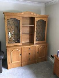 Oak Display Cabinet on sideboard