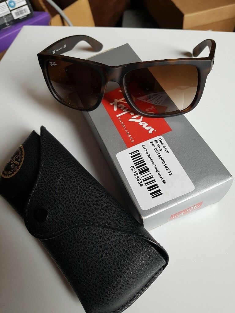 2c3c97a1f1 RAY-BAN justin 710 13 sunglasses. Brown tortoiseshell. With case and box.
