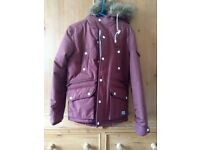 Bergrundy puffer/padded coat with fur hood