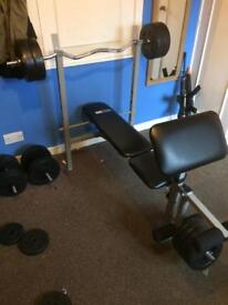 Weights bench, weights and 3 bars