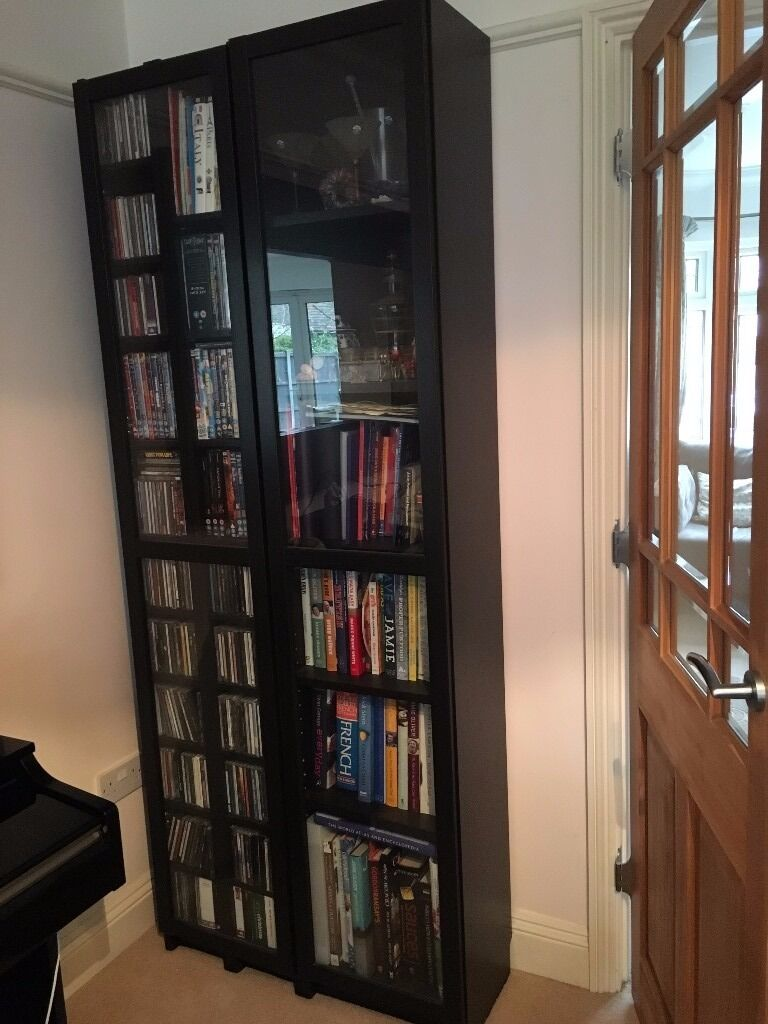 Ikea Billy Bookcase With Gl Doors Black Brown Excellent Condition