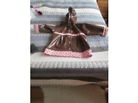 Pretty Girl Pink and Brown Waterproof and lined Raincoat - Age 3 -4 Yrs