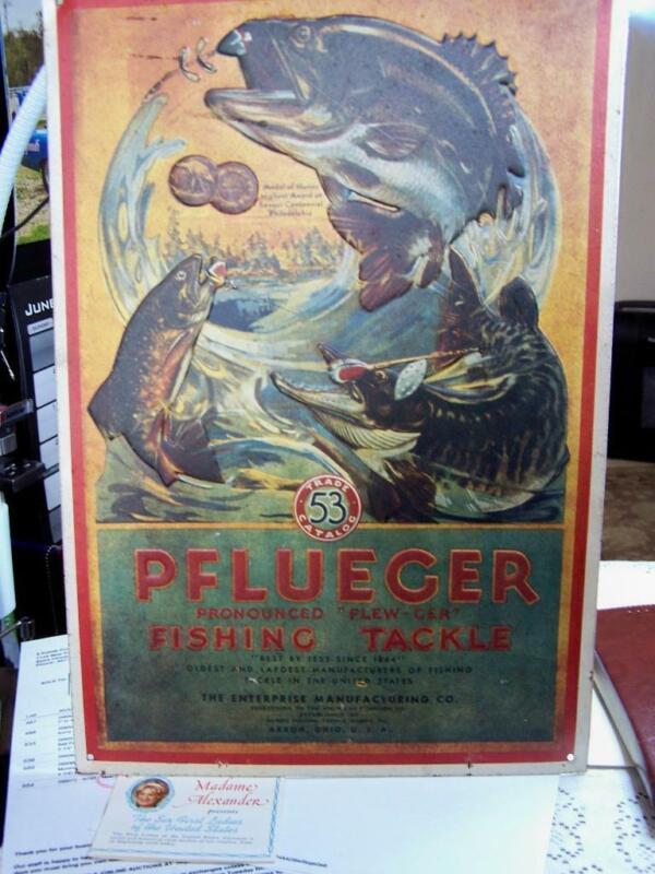 Vintage PFLUEGER Fishing Tackle Embossed Tin Metal Sign 16x11 5 photos
