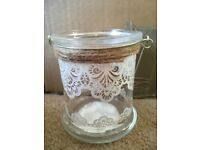 7 glass jars with lace effect - suitable for special occassions / weddings / parties / ornaments