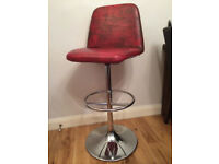 Fab red genuine leather retro bar stool by Johnson's Danish Designs
