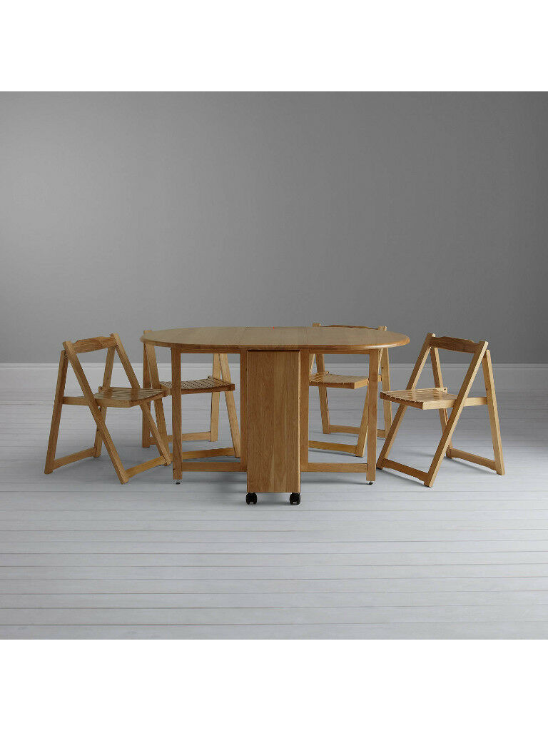 John lewis butterfly drop leaf folding dining table and four chairs