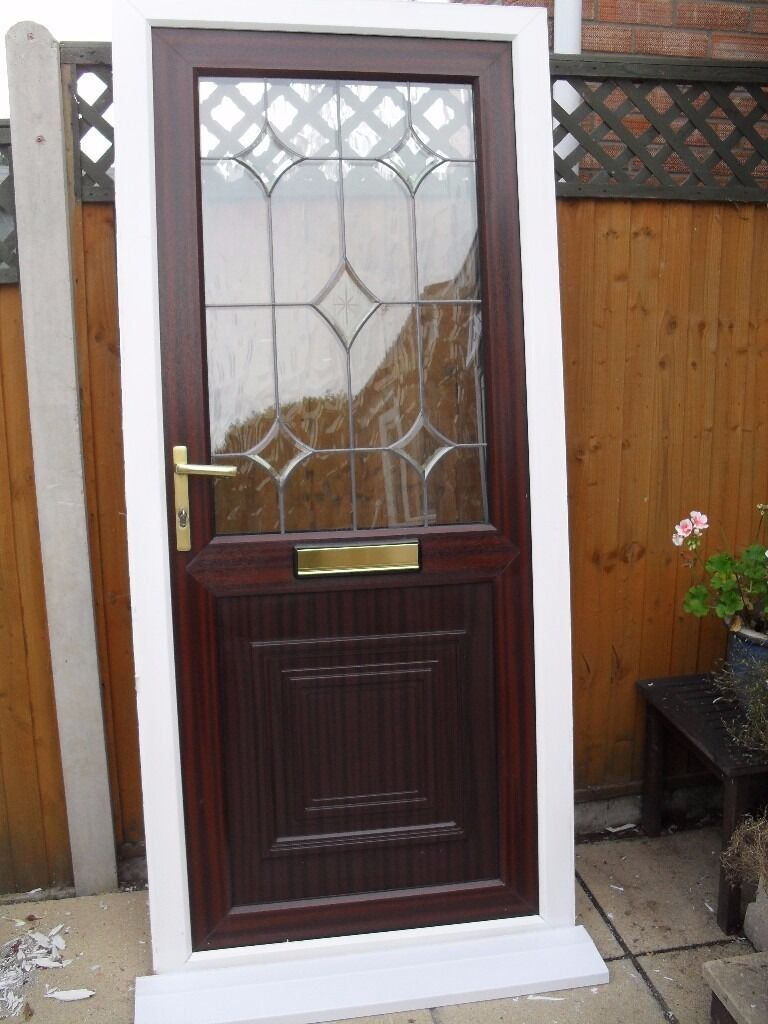 Mahogany upvc double glazed front door white frame and for White front door with glass