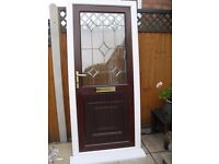 MAHOGANY UPVC DOUBLE GLAZED FRONT DOOR, WHITE FRAME AND ATTRACTIVE BEVELED GLASS