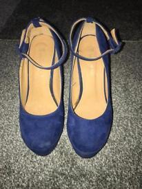 Royal blue wedge heels BNWOT