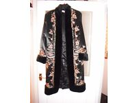 KALEIDOSCOPE EMBROIDERED FAUX FUR TRIMMED COAT