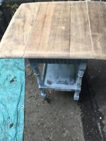 Vintage blue Oak trolley/ drop leaf table with drawer and shelf.