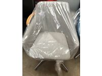 Grey Swivel Tub Chair- Brand New Chrome Base
