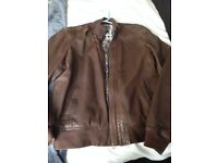 Mens Ted Baker brown leather Jacket size 4 / 40 inch chest great condition