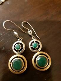 Silver 925 with emerald stone and gold plated