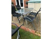 Garden table and 4 chairs AND 2 recliners sun loungers