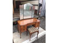 1950s Queen Ann dressing table with triple mirror and stool.