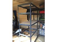 Metal frame shelving with wood shelves - Tufferman x2 - 1800h x 900w x 600d (mm) - 265kg - RRP £119