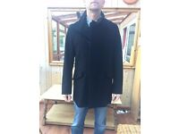 Reiss black wool coat (size large) Very good Cond.