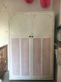 Large hand painted wardrobe Distressed French style
