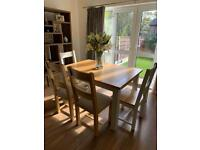 6 seater extendable dining table with chairs and bench