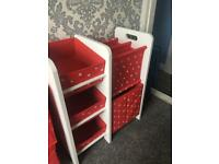 Next Bedroom Unit & Storage Boxes Red Stars
