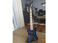 Jackson Kelly Bird 5 string bass guitar-Blue burst