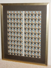 Framed Sheet of 100 Charles & Diana Wedding Stamps