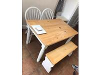 Farmhouse table, chairs and bench