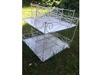 WHITE SHABBY CHIC STYLE 2 Tier revolving display unit ideal for gift shop/ craft fair