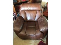 Armchair; Leather reclining armchair