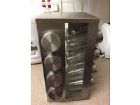 Hardly used Stainless steel spice rack can hold 16 spice jars