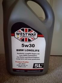 5W30 Engine Oil Fully Synthetic Long life BMW approved LL04 5 litres 5L