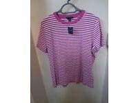 Lands End Pink/White Stripe T Shirt