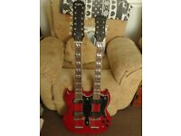 Epiphone G1275 Twin Neck Guitar 1996 Vintage Double Neck Nice Condition