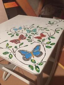 Stunning hand painted shabby chic upcycled butterfly table bedside coffee