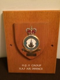 RAF Air Defence - Wooden plaque with HQ11 Group emblem