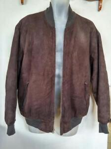 PAUL SMITH $2000 Buttersoft Bomber Jacket Mens LARGE L 42 44 Dark Brown EUC Fall Coat Lightweight Suede Leather Genuine