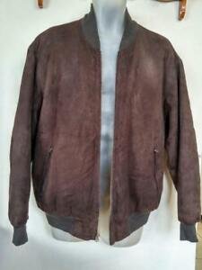 Paul Smith $2000 BUTTERSOFT Bomber Jacket LARGE L 42 44 Dark Brown EUC Fall Coat Lightweight Suede Leather YKK zip