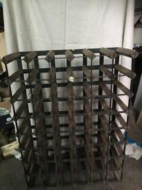 Vintage metal and wood wine rack