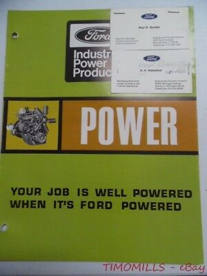 1969 Ford Power Products Industrial Engine Chart Catalog Brochure Vintage Vg