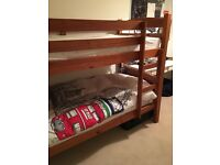Bunk beds wooden & 2 matresses