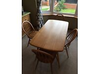 Ercol Dining Table & Chairs 1960s Original