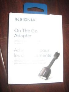 Insignia OTG (On The Go) Micro USB - USB Cable. Connect Samsung Galaxy S5, S6, S7 / Android Smart Phone to any USB. NEW